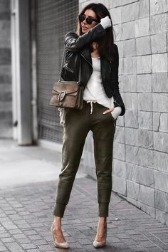 jogger pants, leather jacket, and pumps