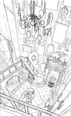 sixtine . Sketch , perspective , house , inner building , Double floor