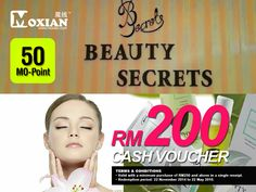 With just 50 MO-Point, rejuvenate and pamper yourself with RM 200 worth Cash Voucher from Women Beauty Secret now!  Get it at www.moxian.com or by using or Moxian app.  #beauty #facial #beautysecret