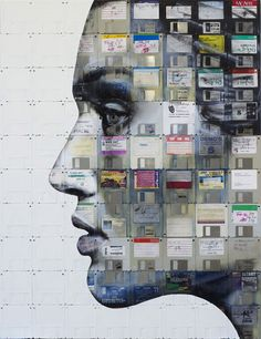 PROFILE NUMBER 6 2012 Oil and used computer disks on wood 94cm x 72cm