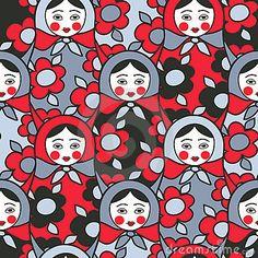 Matryoshka dolls - seamless pattern of Russian  ne by Michelisola, via Dreamstime