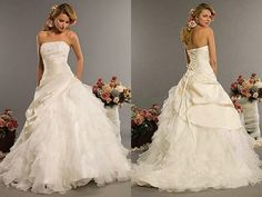 Ivory Taffeta and Organza Strapless Cheap Wedding Dress Ball Gown Bridal Dress 2014 Free Shipping vestido de noiva $164.00