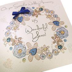 Luxury Handmade Sapphire Wedding Anniversary Card Blue Bow Satin Floral Wreath Glitter Hearts - 'On Your Sapphire Wedding Anniversary, 45 Years Together!'