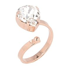 Otazu Hearts Rose Gold-plated Ring ($74) ❤ liked on Polyvore featuring jewelry, rings, rose gold, pink jewelry, swarovski crystal jewelry, wrap rings, heart shaped jewelry and sparkle jewelry