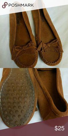 Minnetonka moccasins  (worn once) Like new Minnetonka  Shoes Moccasins