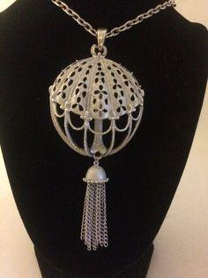 Vintage Crown Trifari Silvertone Modernist Necklace Pendant Tassel Openwork #Trifari #Pendant