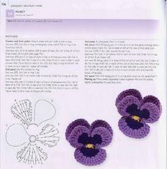 Crocheted flowers patterns with diagrams