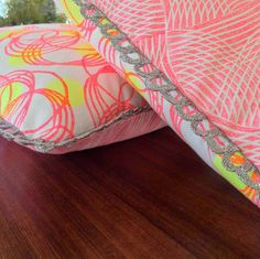 Doublesided Hand Printed Cushion Orbit and Oasis in by Paravent