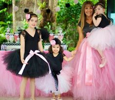 Parisan Chic Ballerina Ballet Pink Black Girl Party Planning Ideas, love the mommy and me tulle skirts!!!!