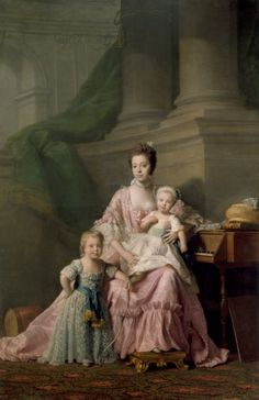 """""""Queen Charlotte with her two Eldest Sons"""" by Allan Ramsay in the Royal Collection. The Queen holds Prince Frederick, later Duke of York; at her knee stands Prince George, Prince of Wales, with a bow and behind him a drum. Queen Charlotte Of England, Queen Of England, Thomas Gainsborough, Rey George, King George, Black History, Art History, Molduras Vintage, Royal Collection Trust"""