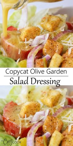 Copycat Olive Garden Salad Dressing Recipe is easy to make with just a handful of simple ingredients!This Copycat Olive Garden Salad Dressing Recipe is easy to make with just a handful of simple ingredients! Olive Garden Salad, Olive Garden Recipes, Olive Salad, Vegan Olive Garden, Olive Garden Appetizers, Olive Recipes, Italian Dressing Recipes, Salad Dressing Recipes, Italian Salad Dressings