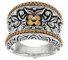 Product image of Barbara Bixby Sterling & 18K Yellow Gold Band Ring