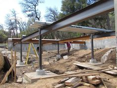 Steel Beams and a Metal Pan Deck - Fine Homebuilding Steel Railing Design, Balcony Railing Design, Steel Frame House, Steel House, Building A Deck, Building Design, Haus Am Hang, Steel Deck, Steel Stairs