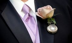 Pocket watch boutonniere from Alice in Wonderland wedding by Devers Design Group/Genevieve Leiper Photography
