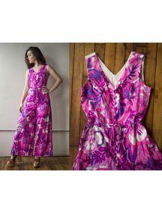 1b0ec62bcfbc Vintage 1970s Pink and Purple Floral Wide Leg Palazzo Pant Jumpsuit - Size  M by AveryVintageShop