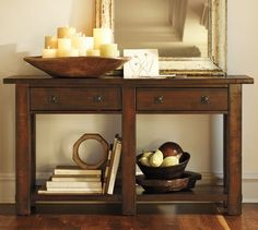 For Kitchen with Mirror above it  Benchwright Console Table - Rustic Mahogany stain | Pottery Barn