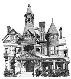 Pen and Ink Stippled Victorian House drawing. ""
