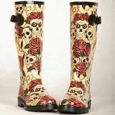 Skull and roses rain boots                                                                                                                                                     More