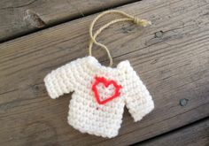 Rustic sweater ornament with heart / by SassySudburySisters, $8.00