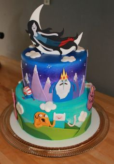 Adventure Time cake. I see you Peppermint Butler!