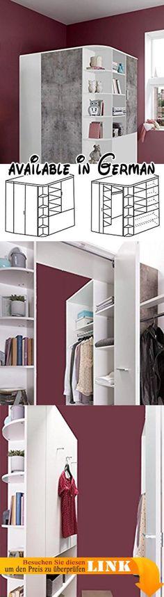 B014PHZHZQ  Begehbarer Eckkleiderschrank weiß Eiche-Nachbildung - schlafzimmer mit eckschrank