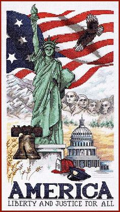 America--what a  beautiful cross stitch!  Just like our country and her people.