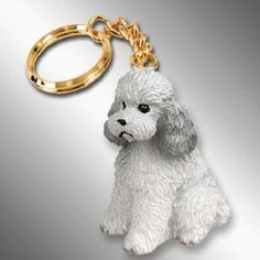 Poodle Gray Sport Cut Dog Breed Key Chain Ring Holder