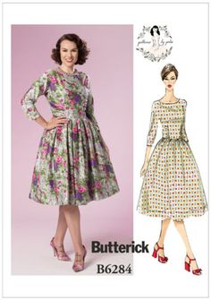 Butterick-6284-Sewing-Patterns-Gertie-50s-60s-Dress-Vintage-Style-Retro-B6284