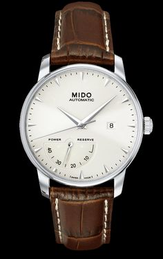 Mido Men's Watch Baroncelli II Complication white dial with brown band style #: M8605.4.11.8 www.midowatch.com