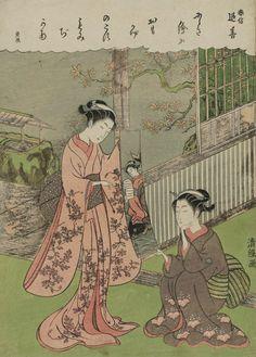 In Memory of Harunobu. Woodblock print, about 1770, Japan, by artist Torii Kiyotsune
