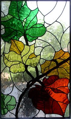 Fall leaves in stained glass