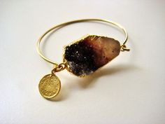Gold plated bangle with mustard creme brown/black by NKcollection, $48.00