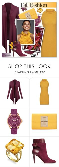 """""""Burgundy Cardigan, Crew Neck Dress,Suede boots,Clutch - Yoins 21"""" by anyasdesigns ❤ liked on Polyvore featuring Michele and Jimmy Choo"""