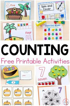 Fun printable counting activities for preschool and kindergarten math centers. These counting and number sense activities are hands-on and effective! Number Sense Activities, Kindergarten Math Activities, Numbers Kindergarten, Numbers Preschool, Preschool Printables, Preschool Activities, Math Games, Center Ideas For Kindergarten, Free Printables