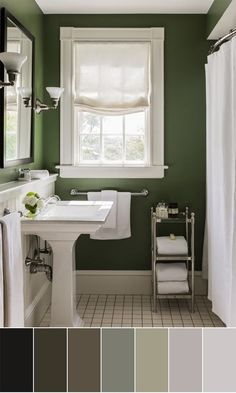 Turn your bathroom into the retreat of your dreams using these beautiful paint bathroom ideas as inspiration. bathroom ideas 111 World`s Best Bathroom Color Schemes For Your Home Small Bathroom Colors, Bathroom Color Schemes, Bathroom Design Small, Bathroom Interior Design, Modern Bathroom, Bathroom Ideas, Bathroom Green, Colorful Bathroom, Rustic Bathrooms