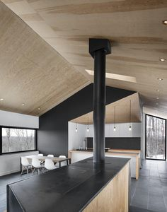 "archatlas: "" Bolton Residence naturehumaine Having bought a beautiful plot of wooded land in Quebec's Eastern Townships, the client dreamt of building a country house that would be in perfect. Cabin Design, House Design, Gable Roof Design, Plywood Interior, Casa Loft, Interior Architecture, Interior Design, Shed Homes, House Roof"