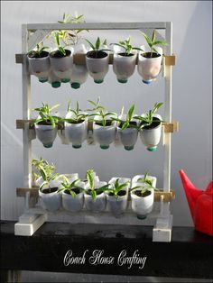 The Greenhouse Space Saver. This idea makes use of height in a greenhouse and frees up some space while at the same time is light enough to carry in and out of the greenhouse as I needed. garden steps ideas, garden pots ideas diy, gardening with kids Plastic Bottle Planter, Reuse Plastic Bottles, Plastic Milk, Plastic Bottle Greenhouse, Recycled Bottles, Organic Gardening, Gardening Tips, Small Greenhouse, Greenhouse Gardening
