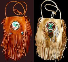 ✧Native american beaded fringe medicine bag✧
