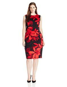 Calvin Klein Women's Plus Size Sleeveless Scuba Sheath in Floral Print, Red/Black
