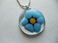 Glass Fused Turquoise Blue Flower pendant by sherrylee16 on Etsy, $20.00