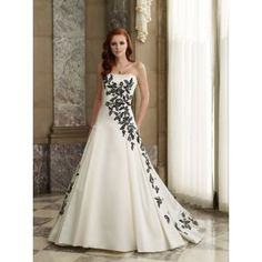 Wedding dresses white with black accents