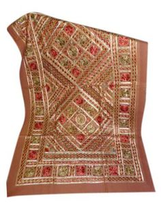 """Brown Banjara Sofa Throw Brown Embroidered Tapestry Bedspread Indian Inspired Decor 60"""" X 36"""" by Mogul Interior, http://www.amazon.com/dp/B00CKIKXFC/ref=cm_sw_r_pi_dp_CzRFrb14F8PSV"""