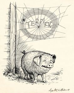 Garth Montgomery Williams (American, 1912-1996), There Was the Handsome Pig, and Over Him, Woven Neatly in Block Letters, Was the Word TERRIFIC, Charlotte's Web, Page 95 illustration, 1952, Graphite and ink on paper, 8 1/4 inches by 10 inches.
