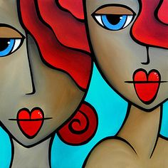Sister Act - Original Abstract painting Modern pop Art Contemporary large Portrait cubist colorful FACE by Fidostudio Abstract Faces, Abstract Art, Abstract Paintings, Pop Art, Arte Pop, Watercolor Artists, Art Portfolio, Face Art, Fine Art America