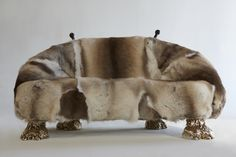 "The Haas Brothers, '""Beast"" settee,' 2013, finnish reindeer fur, handcarved wood, cast bronze"