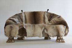 "The Haas Brothers, '""Beast"" settee,' 2013, finnish reindeer fur, handcarved wood, cast bronze"