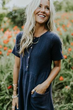 Navy Textured Dress w/Pockets | ROOLEE