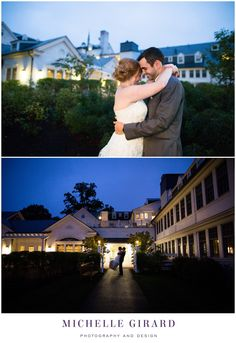 Bride and Groom Portrait and Silhouette at Twilight Sunset :: Fall Tent Wedding Reception on a Rainy Day :: Charming New England Inn Wedding at The Lord Jeffery Inn in Amherst, Massachusetts :: Michelle Girard Photography and Design