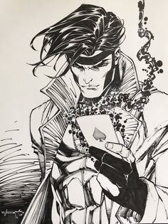 Gambit by Scott Williams * - Art Vault Gambit X Men, Gambit Marvel, Rogue Gambit, Marvel Heroes, Comic Book Characters, Comic Character, Comic Books Art, Comic Art, Xmen Comics