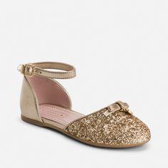 Zapatos de niña abiertos purpurina y hebilla